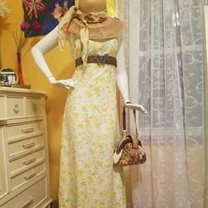 Pastel Yellow Vintage Floral Maxi Dress